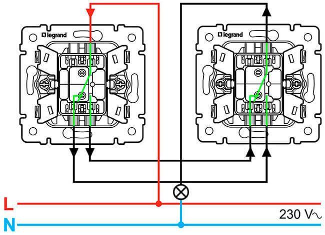 Çapraz anahtar: kablolama şeması, montaj özellikleri. Legrand Anahtarları