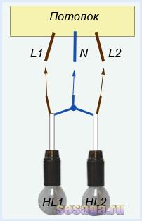 Schema Elettrico Per Due Punti Luce : Come collegare un lampadario con un video a tre fili schema che