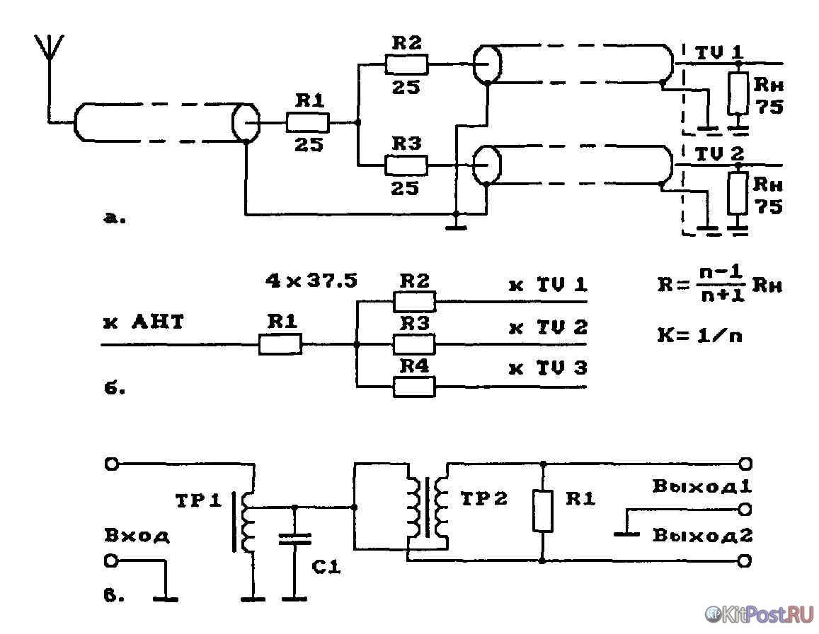 Схема подключения антенного тройника